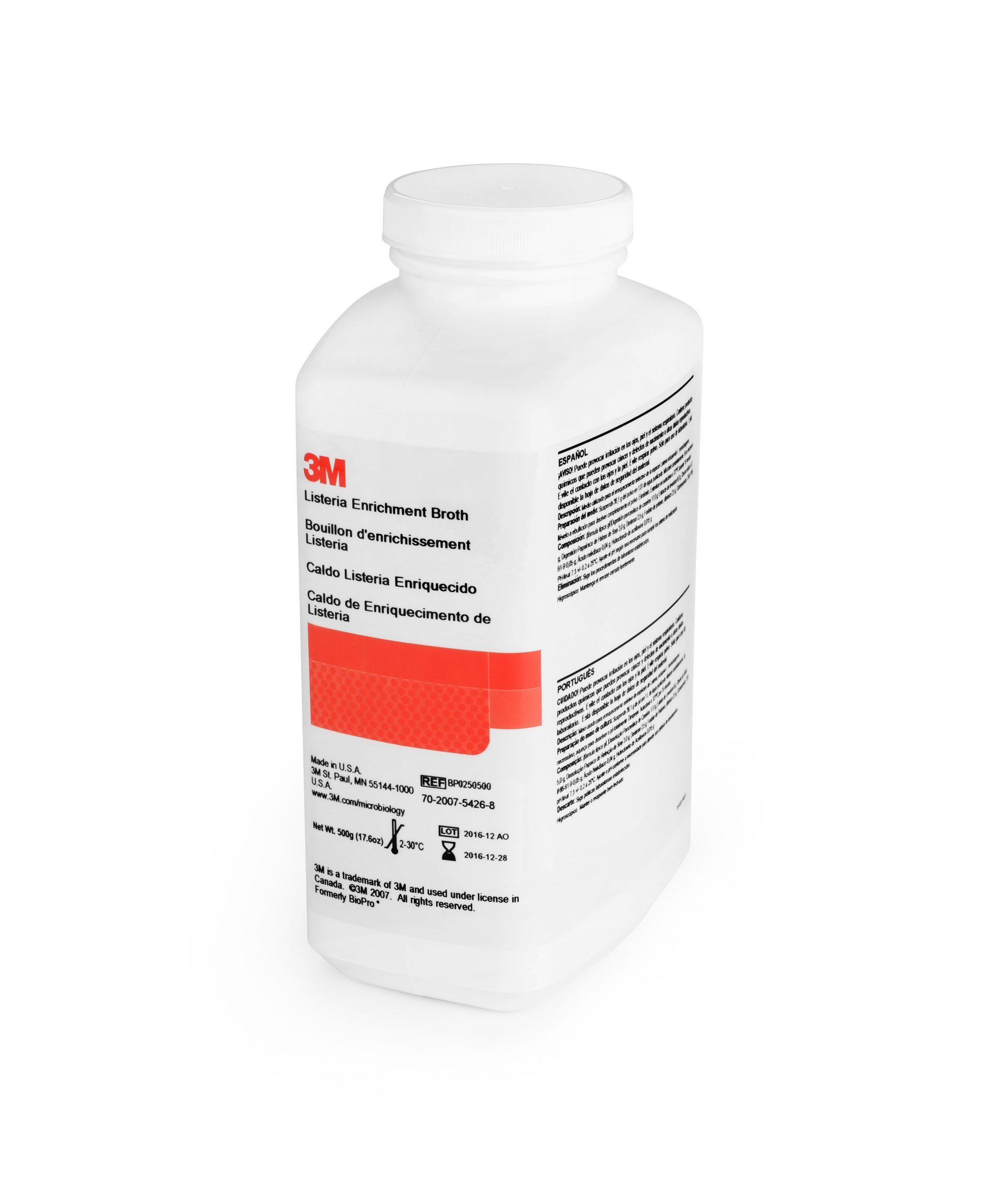 El Caldo de Enriquecimiento para Detección de Listeria (3M Listeria Enrichment Broth) se utiliza para el enriquecimiento selectivo de especies de Listeria, incluida Listeria monocytogenes.